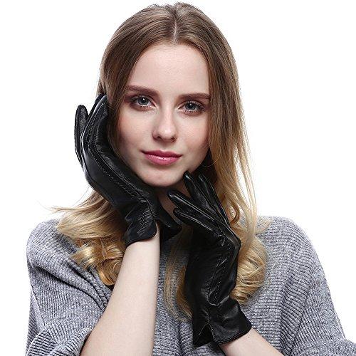 12ff19580114da VEMOLLA Damen Fashionable Warme Echte Leder-Handschuhe Von Lammfell(Herbst  Oder Winter) Schwarz
