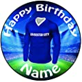 """Personalised Full Colour Leicester City Football Icing Cake Topper - 8"""" (20cm) Pre-Cut Circle"""