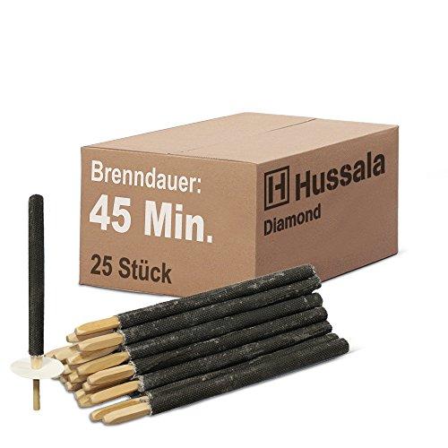Hussala - Diamond Wachsfackeln Brennzeit 45 min Garten-Fackeln [25 Stück]
