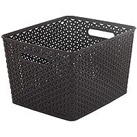Curver My Style Large Rectangular Storage Basket, Dark Brown, 18 Litre