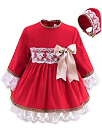 b0c14dc55 Lajinirr Toddler Girls Long Sleeves Red Handmade Christmas Dresses with Hat