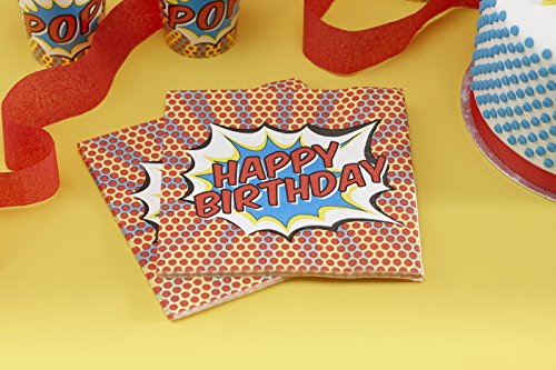51vaQXKgunL - Ginger Ray feliz cumpleaños servilletas de papel-Pop Art Superhero Decoración