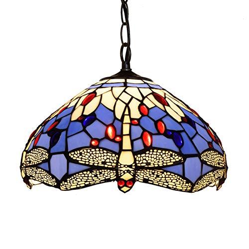 Tiffany-Stil Hängelampe 12 Zoll Glasmalerei Anhänger Beleuchtung Libelle Stil Tiffany-Stil Kronleuchter Lichter für Esszimmer Schlafzimmer Wohnzimmer als Anhänger Deckenleuchte -