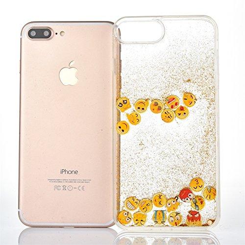 Voguecase Pour Apple iPhone 7 Plus 5,5, Dual Layer Luxe Flowing Bling Glitter Sparkles Quicksand et les étoiles Hard Case étui Housse Etui(Noctilucent-QQ expression 01-Violet) de Gratuit stylet l'écra Noctilucent-QQ expression 01-Or