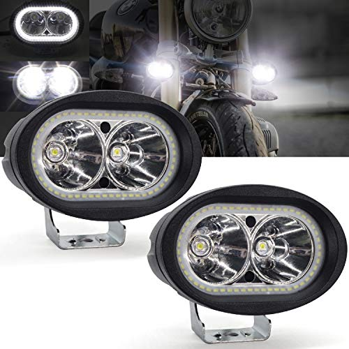 Faretti LED Moto Supplementari,YuanGu 20W Moto Faro da Lavoro Luce Con Bianco Angel Eyes Halo Ring LED Lampada Lavoro Offroad Impermeabile 12V /24V per Moto Truck ATV SUV UTV Boat 2Pcs