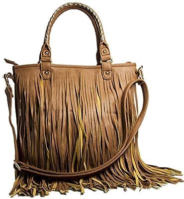 Womens Tassel Cowgirl Fringe Designer Boutique Soft Leather Large Tote Shoulder Handbag Bag Purse