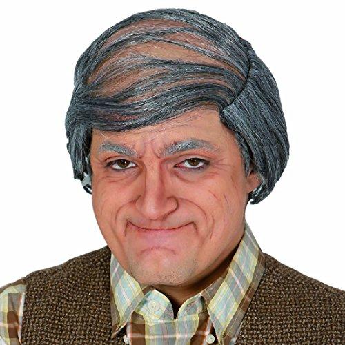 Amakando Opa Perücke mit grauen Haaren Glatzenperücke Faschingsperücke Glatzkopf Karnevalsperücke Alter Mann Herrenperücke Großvater Männerperücke Glatze