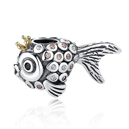 Charm, con pesciolino principessa splish splash, in argento sterling 925, adatto per i braccialetti pandora e gli altri braccialetti europei