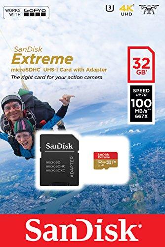Sandisk extreme 32 gb per action camera, microsdhc con adattatore sd, classe 10, u3, v30, a1, velocità di lettura fino a 100 mb/s