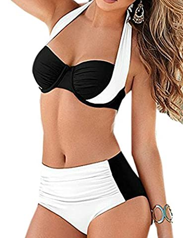 Blooming Jelly Women's Push Up Bikini Set 2 Piece Swimsuit Push Up Swimwear UK14=EU42=Asian XL White