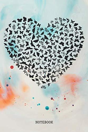 Notebook: Funny Butterfly Hart I Love Butterflies Planner / Organizer / Lined Notebook (6