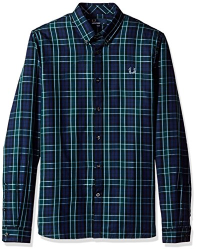 Fred perry fp enlarged tartan, camicia sportiva uomo, multicolore (navy), medium (taglia produttore:m)