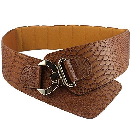 iShine Mujer Moda Stretch Elástico Ajustable Cinturón con Modelo de Serpiente