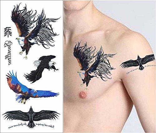 COKOHAPPY 5 Blätter Temporäre Tattoo - Flash Tattoo Körper Aufkleber Art - Adler Falke Hawks