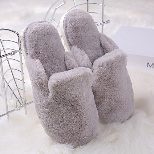 TININNA Unisexe Sandales d'hiver,Pantoufles Chaussons en Coton Chaud Hiver Intrarieur Anti-Derapant Shoes Chaussures House Slipper pour Femmes Hommes Gris L