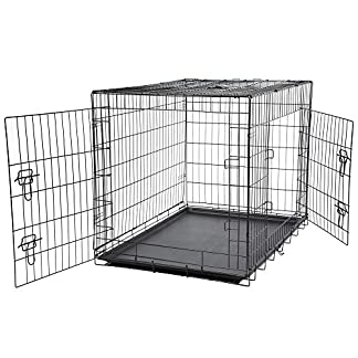 Bunty Metal Dog Cage Crate Bed Portable Pet Puppy Training Travel Carrier Basket - Small 15
