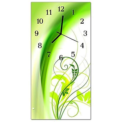 Glasuhr von DekoGlas 30x60cm waagerechte Bilderuhr aus Acryl-Glas mit lautlosem Quarzuhrwerk Dekouhr Glaswanduhr Uhr aus PMMA Wanduhren Küchenuhr Wanddekoration Glasbilder Pflanze Grün