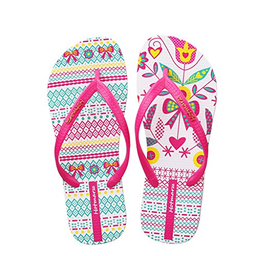 Hotmarzz Sandalias Mujer Zapatos Chanclas de Verano Playa Hojas Flor Asimétrico Moda Pantuflas Planas Zapatillas de Casa Piscina Size 36 EU/37 CN, Rosa