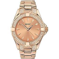 Seksy Intense Women's Quartz Watch with Rose Gold Metal Bracelet (4669)
