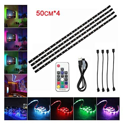 LED TV Hintergrundbeleuchtung LED Streifen 4Stück*50CM Set RF Wireless 5050 RGB mit Fernbedienung 20 Farben 22 Beleuchtungsmodi USB TV Beleuchtung LED Stripes Lichterkette für Heimkino(Schwarz)