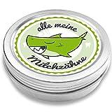 DOCTORS Milchzahndose   Haifisch Henri, grün   für Mädchen und Jungen   Geschenk zur Einschulung, Taufe, Geburt   Zahnfee Dose aus Metall für Wackelzahn