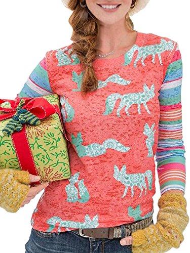 ECOWISH Damen Tier Gedruckt Pullover Gestreifte Sweatshirt Oberteil Langarm Rundhals Top Shirt Orange L