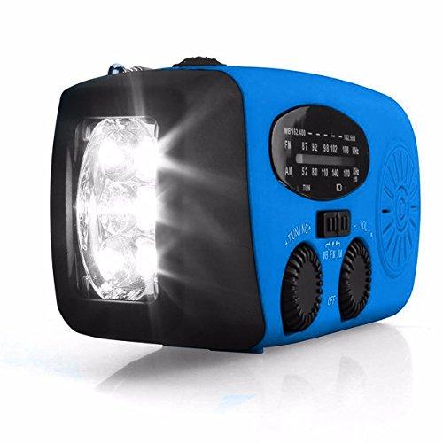 OUTERDO Mini Tragbar Solar Ladegerät Radio Solarradio Mit Helle LED Taschenlampe Dynamo Radio AM / FM / WB Handy Notfall Powerbank Blau