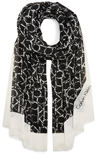 Calvin Klein Jeans Damen Trilby Ck Allover Long Scarf, Schwarz (Black 001), One size