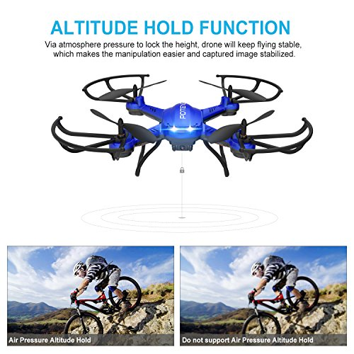 NOVEDAD   Hover Drone  Potensic F181WH AMPLIADO Wifi FPV 2.4GHz 4CH 6 Axis Gyro RC Quadcopter Drone con Cámara HD 2 Megapíxeles  Función 3D Flips   Azul