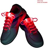 Enem LED Light Up Shoelaces- High Visibility Flashing for Night Running Biking, Clubbing, Rave, Birthday, Disco, Hip-hop Dancing, and Dubstep Party-(01 Pair)-Red