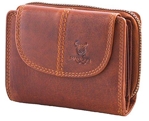 MATADOR Geldbörse Damen Leder Portmonee Geldbeutel Geldtasche Rindsleder YKK Reißverschluss RFID (Geldbörse Leder Reißverschluss)