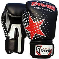 Farabi Niños Guantes de Boxeo, MMA, Muay Thai Junior Punch Bag Mitts Negro 6oz