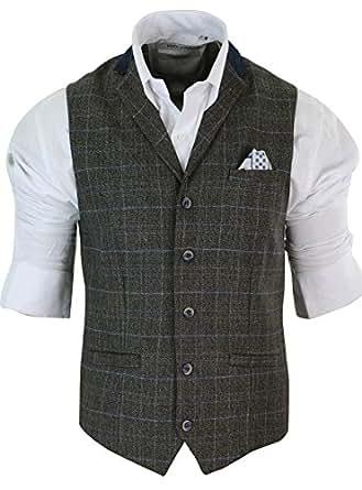 veste ou gilet homme tweed gris bleu carreaux coupe cintr e tailor look d contract chic. Black Bedroom Furniture Sets. Home Design Ideas