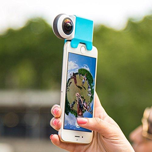 Giroptic IO - Fotocamera HD 360° Per IPhone E IPad I Ottima Per Foto, Video, Live Straming A 360° I Condivione Social Immediata - Bianco, Azzurro