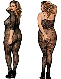 c44e82f913e Amoure 2 Pack Plus Size Fishnet Bodystocking Open Crotch Lingerie Babydoll  Crotchless Teddy Lace Nightie Bodysuit