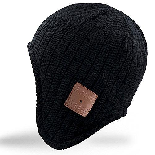 Rotibox Waschbar Winter-Unisex Hat Bluetooth Beanie Short Skully Cap mit Bluetooth-Stereo-Kopfhörer Mic Hands Gitter Akku für Skifahren Wandern Laufen, Christmas gift (BB018-Schwarz)