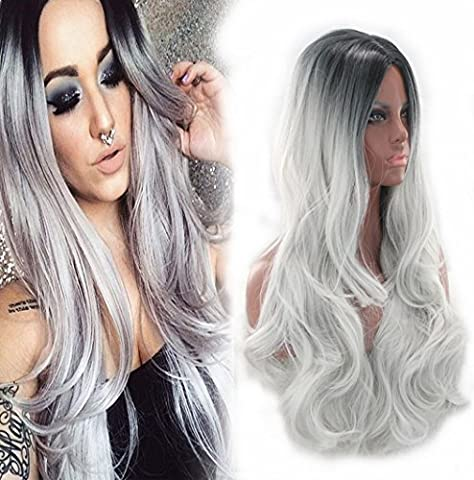 Aukmla synthétique Perruques pour femme Cheveux longs bouclés Wave ombré Fluffy Perruque deux tons Noir Rooted Gris résistant à la chaleur Cheap Tête des Perruques Cosplay