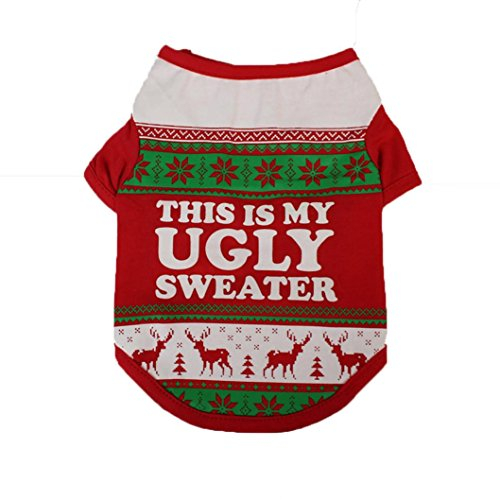 Ninasill Pet Apparel, ღ ღ 2017Weihnachten Süßer Hund T Shirt Casual X-Small Rot