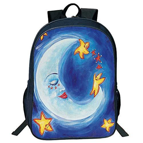 HOJJP Schultasche Stylish Unisex School Students Black Moon,Vibrant Happy Dancing Stars Spy Moon Facial Expressions,Royal Blue Yellow Vermilion Kids, (Spy Kids Mädchen Aus)