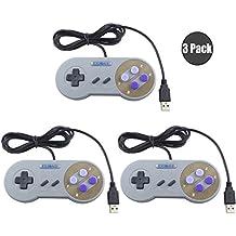 Exlene® 3 Pack Retro USB SNES Super Nintendo Game Controller Gamepad Joystick pour Windows PC / MAC (Gris)