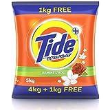 Tide Plus Extra Power Detergent Washing Powder - 4 kg + 1 Kg Free (Jasmine and Rose)