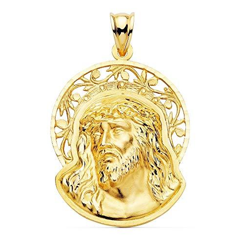 Colgante Oro 18K 36mm. Cabeza Rostro De Cristo Orla Calada Detalles Tallados