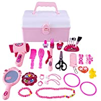 Tosbess 23Pcs Kids Makeup Set for Girls, Dressing Case Jewellry Kit Princess Suitcase Role Play Gift for Children