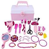 Mecotech 31 Stücke Kinderschmink Set Schminksachen Schminkset Prinzessin Mädchen Kosmetikkoffer Rollenspiel Spielzeug für Kinder Mädchen ab 3 Jahre