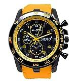 2017 Xmansky Gli uomini di moda da polso orologio acciaio inox lusso Sport al quarzo moderna (giallo)