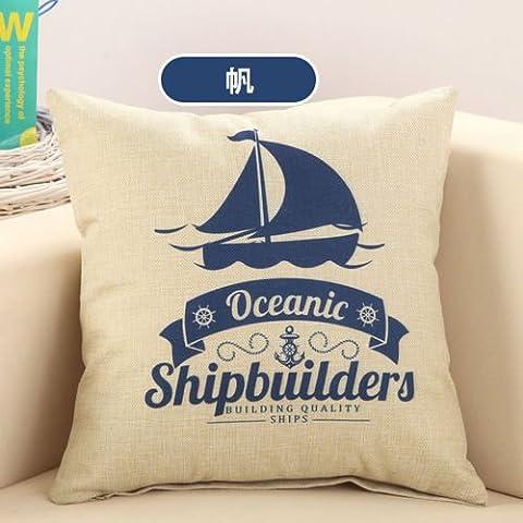 Segelboot Marine Piraten Baumwolle Bettwäsche Sofa Einrichtung Kissen Kissenbezug