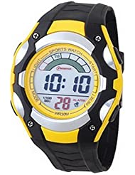 Montre digital Homme - bracelet Plastique Noir - Cadran Rond Fond Noir et Jaune - Marque Mingrui - MR8527