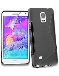 Connect Zone Noir S-Line Gel Peau Coque étui pour Samsung Galaxy Note 4 + Protecteur D'écran & Tissu Polissage