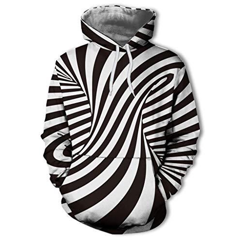 Daysing Herren Unisex Kapuzenpullover Pullover Schwarz 3D Print Swirl Langarm Sweatshirt Slim Fit Paar Hoodie Zebra -