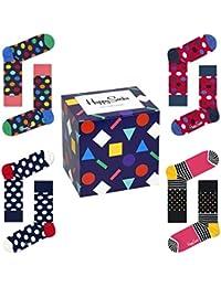 Happy Socks 4 Paires de Chausettes avec Boîte Cadeau Colorée Taille 41-46